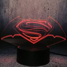 Symbol Of DC Superman And Batman LED Lamp superman in batman logo night light children gift desk creative decor room atmosphere(China)