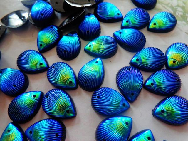 120pcs 10 14mm Sew On rhinestones dark blue AB colour resin crystal water  drop shape a5ac88b7f8fb