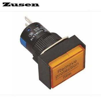 Zusen 16mm momentary 1no1nc rectangle plastic push button switch illuminated (LA16-11DN/Y/12V/J)