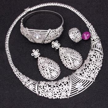 Bridetalk Fashion jewelry brands Big luxury 4pcs Wedding bridal jewelry sets Cubic zirconia