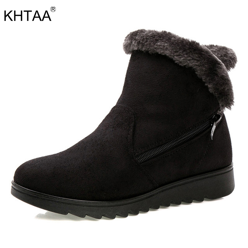 KHTAA Women's Warm Short Fur Plush Winter Ankle Snow Boots Plus Size Ladies Suede Zip Shoes Female Fashion Comfortable Mother