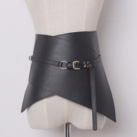 TWOTWINSTYLE Woman Ultra Wide Adjustable Slim Body Corset Belt Black Leather Retro Design Comfortable Belts Womens