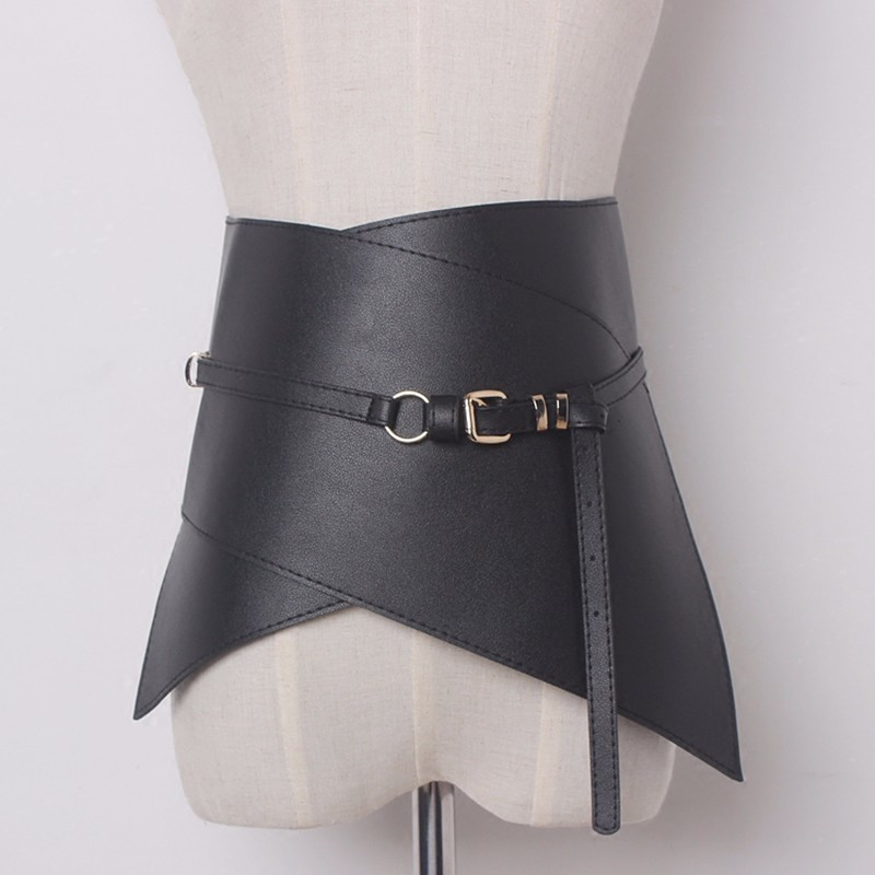 TWOTWINSTYLE Woman Ultra Wide Adjustable Slim Body Corset Belt Black Leather Retro Design Comfortable Belts Womens Harness