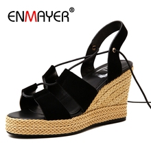ENMAYER High Heels Summer Sandals Shoes Woman Wedges Sandals Plus Size 34-40 Platform Shoes for Women Peep Toe Slipsole ZYL06
