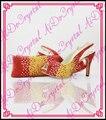 Aidocrystal 2016 primavera verano zapatos de noche con cristal de las mujeres caliente zapatos a juego italiano y juego de bolsa