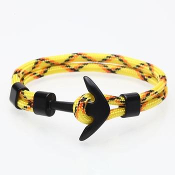 Anchor Bracelet Men Charm Survival Rope Chain Bracelets Paracord Fashion Black Color Anchor Bracelet Male Wrap Metal Sport Hooks 3