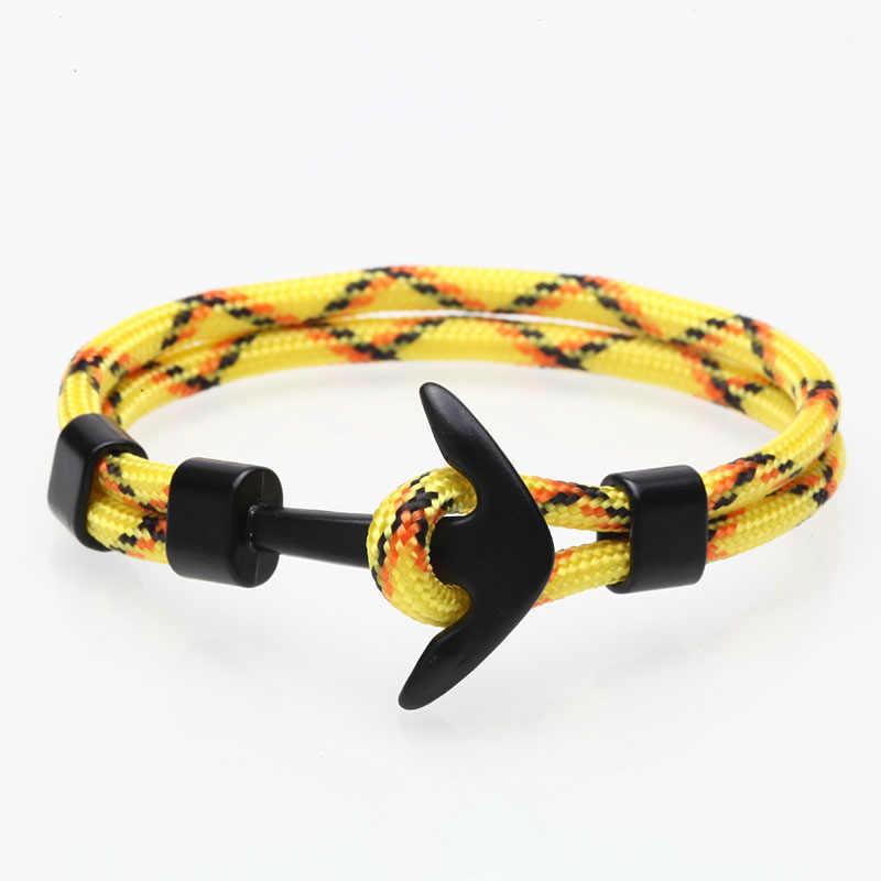 Kotwica bransoletka mężczyźni urok Survival Rope Chain bransoletki Paracord moda czarny kolor kotwica bransoletka męska dopasowana bransoletka Metal Sport haki