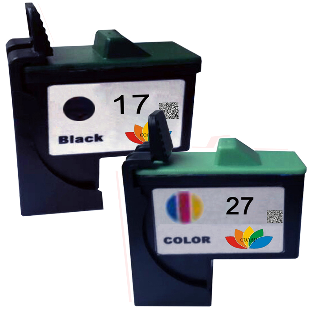 1 Set 10N0017 10N0027 for Compatible Lexmark 17 27 Remanufactured ink cartridge LM17 LM27 printer Z647 Z33 Z34 Z35 Z35LE Z35t nt00015 1 men s winter fashionable velvet like warm martin boots yellow pair size 40