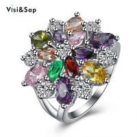 Visisap Colorful Ring Flower Oval Cz Diamond Rings Russian Wedding Gift For Women Engagement Jewelry White