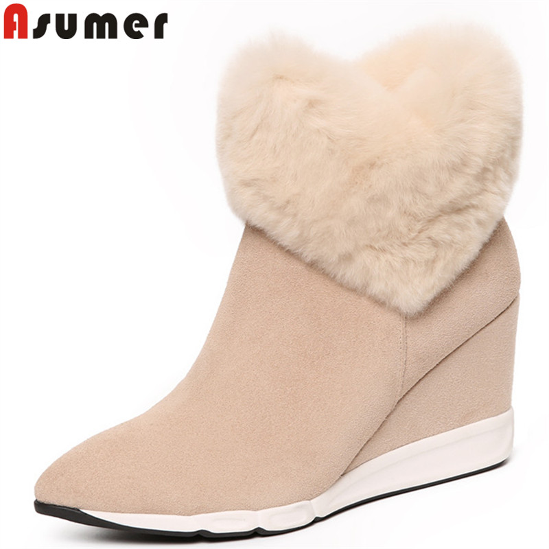 ASUMER black fashion ankle boots for women pointed toe zip suede leather boots wedges zip fur ladies shoes woman winter boots