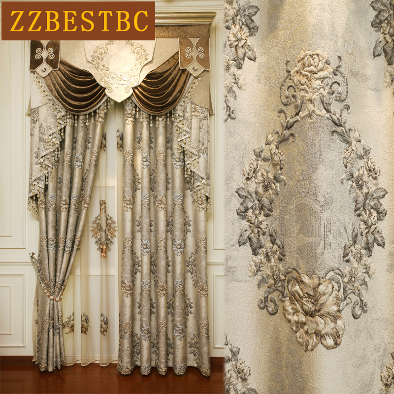 European Royal Luxury 4D Embossed Blackout Curtains for Bedroom Upscale Hotel with Elegant Voile Curtain Villa Living Room
