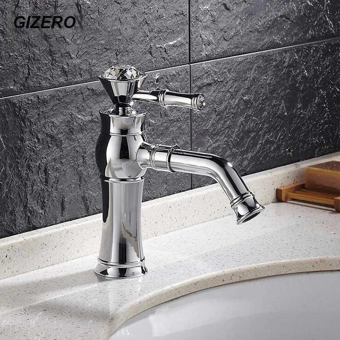 Crystal Bathroom Basin Mixer Faucets Chrome Polished with Swivel Spout Vessel Sink Mixer Taps Bathroom Torneira