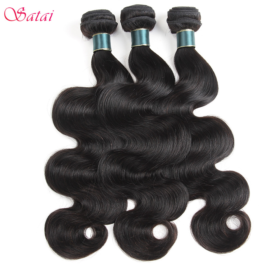 SATAI hair Indian Body Wave 3 Bundles Deal Natural Color No Shedding No tangle Non Remy