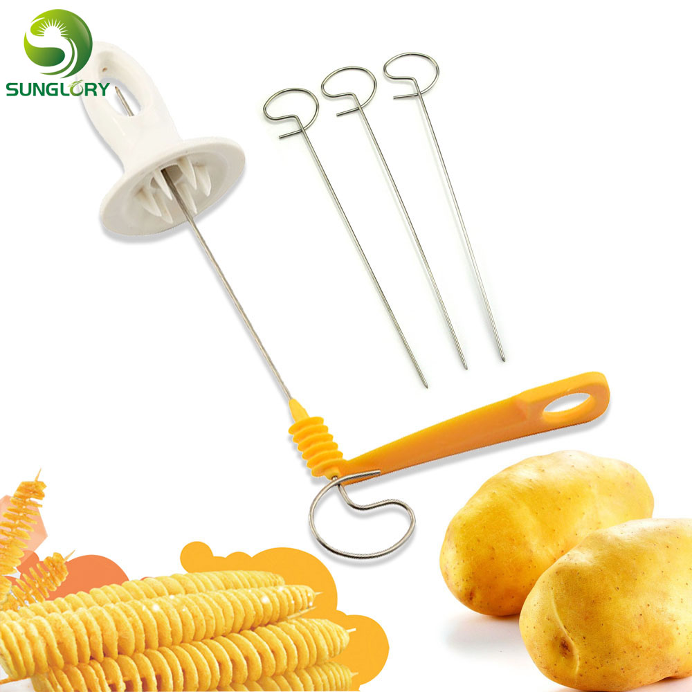 Tornado Twisted Spiral Potato Cutter Spiral Chips Presto 4spits Rotate Potato Slicer Shredder Kitchen Accessories Cooking Tools