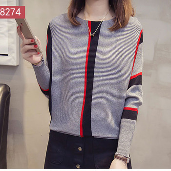 Women Striped Sweaters and Pullovers 2019 Fall Fashion Female New Arrival Knitted Pullover Tops Loose Elegant Cotton Pull Jumper 3