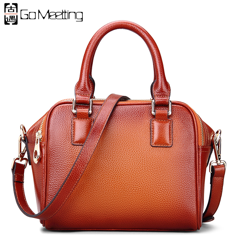 ФОТО Go Meetting Brand Design Genuine Leather Women's Handbags High Quality Vintage Cowhide Women Small Shoulder Messenger Bag WS81