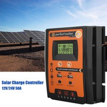 Charge Controller 12V 24V 30A 50A  Solar Charge Controller Solar Panel Battery Regulator Dual USB LCD Display Top Quality