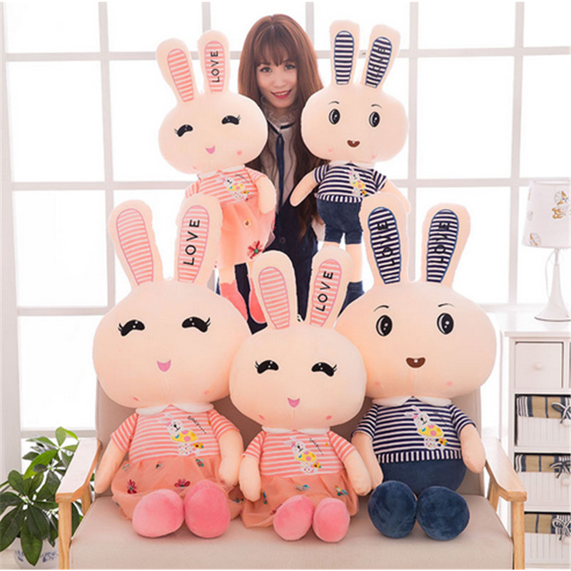 Fancytrader Giant Soft Bunny Plush Toy Big Anime Stuffed Rabbit Toys Doll Pink Blue 110cm for Children Birthday Christmas Gifts