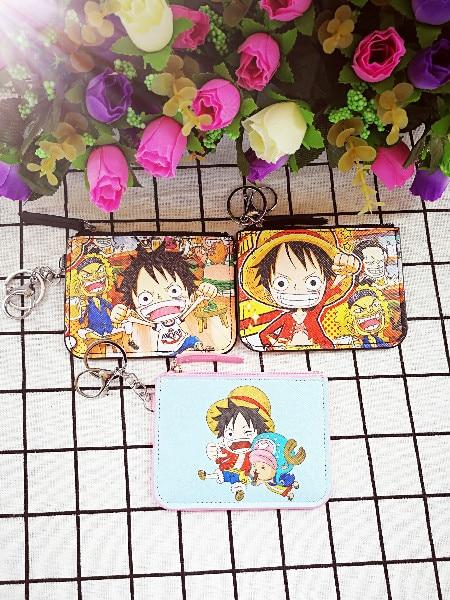 IVYYE 1PCS One Piece Anime Plush Card Holder PU Cartoon Credit ID Bags Zipper Coin Bus Card Wallet Kid Girls Gifts New Сумка