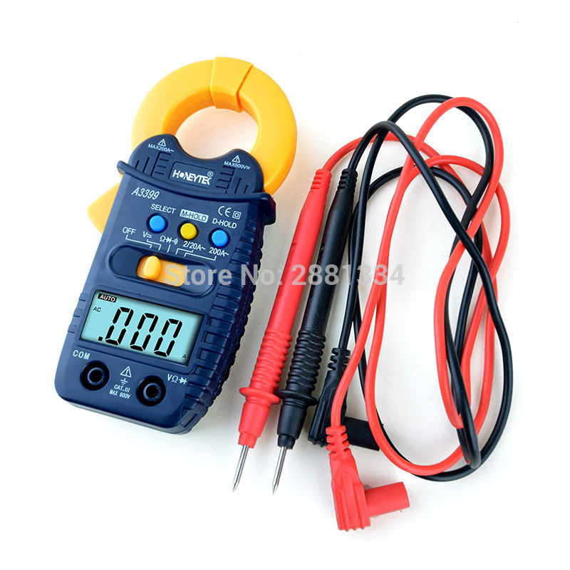 NEW! A3399 Voltage Mini Digital Clamp Multimeter Meter Current AC/DC Voltage Resistance Capacitance Frequency Tester Detection image