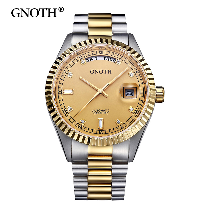 2017 New GNOTH Men Mechanical Watches 50m Waterproof Stainless Steel Band Luxury Wristwatches Male Fashion Top Brand Clock Hot 2016 hot sale top brand ailang luxury men watches casual fashion waterproof stainless steel wristwatches mechanical watch
