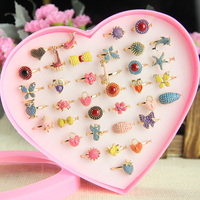 36pcs Rings Mix Wholesale Jewelry Lots Mixed Lots Crystal Rhinestone Girl Kid Children Rings Cute Sweet gift