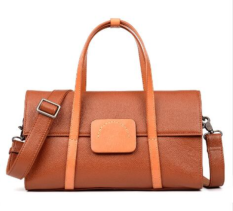 Style Women Genuine Leather Cowskin Travel Bag Soft Holdall
