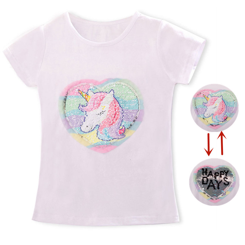Baby Girl Unicorn t-shirt Tops Baby Girl T-shirt Big Girls Tee Shirts Children Girl 3-8 Years Summer Short Sleeves Cotton Tees(China)