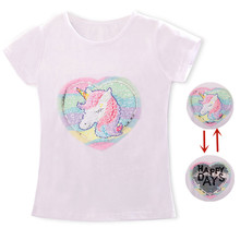 Bebé niña unicornio camiseta Tops bebé niña camiseta chicas grandes camisetas niños niñas 3-8 años verano corto mangas camisetas de algodón