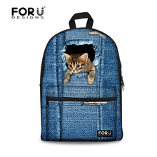 Fashion Printing Denim Cat Kids Backpack,Children Canvas Backpacks for Teenager Girls Boys,Cool Dog Backbag Bookbag mochilas