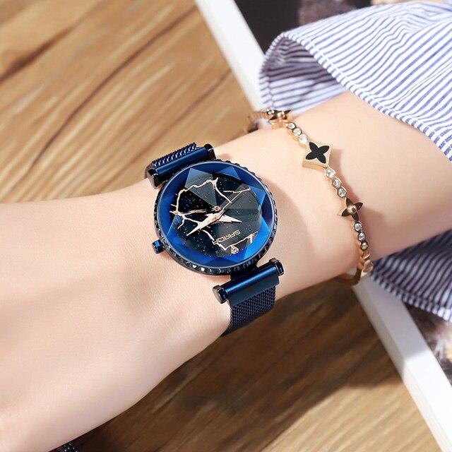 2018 Luxury Magnet Women Watches Gold Dress Bracelet Crystal Quartz Ladies Watch Starry Sky Female Steel Clock relogio feminino