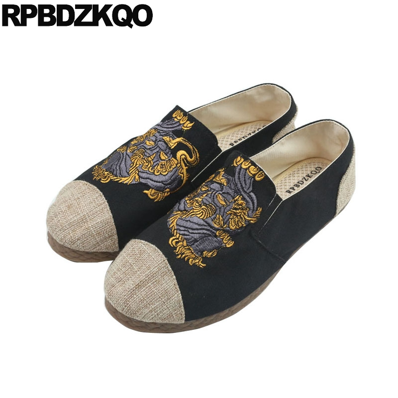 shoes men embroidered floral casual