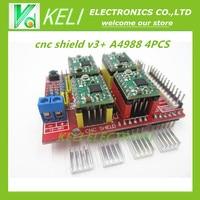 Free Shipping New Cnc Shield V3 Engraving Machine 3D Printer 4pcs A4988 Driver Expansion Board