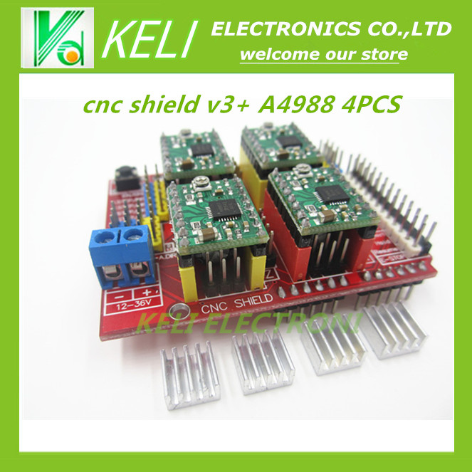 Free shipping New cnc shield v3 engraving machine 3D Printer  4pcs A4988 driver expansion board