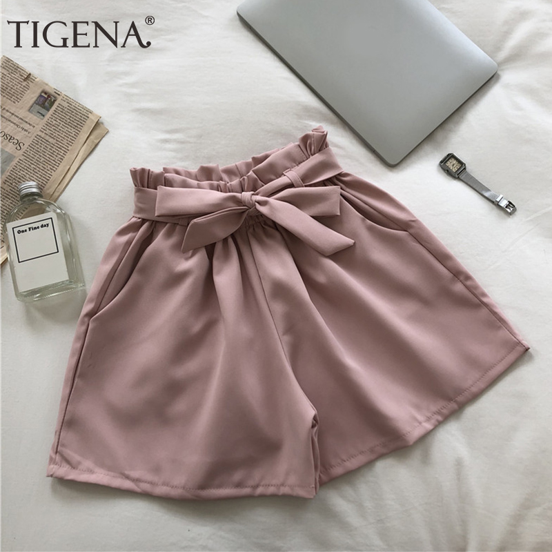 TIGENA 2019 Summer Elastic High Waist Shorts Women Korean Style Cute Bow Belt Shorts Female Casual Short Pants Ladies Black Pink