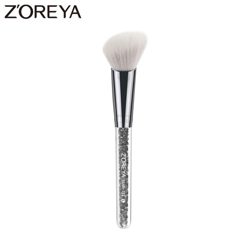Zoreya Brand  obliquel style  Blush Make Up Brush Cosmetics Makeup Aluminum Brushes Soft Face makeup Blush Brush available make up factory blush brush