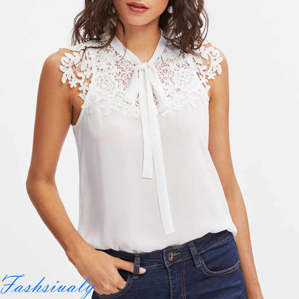 High Quality Casual Women Summer Sleeveless Bow Tie Lace Thin Chiffon Blouse Top Shirt Travel Teenage