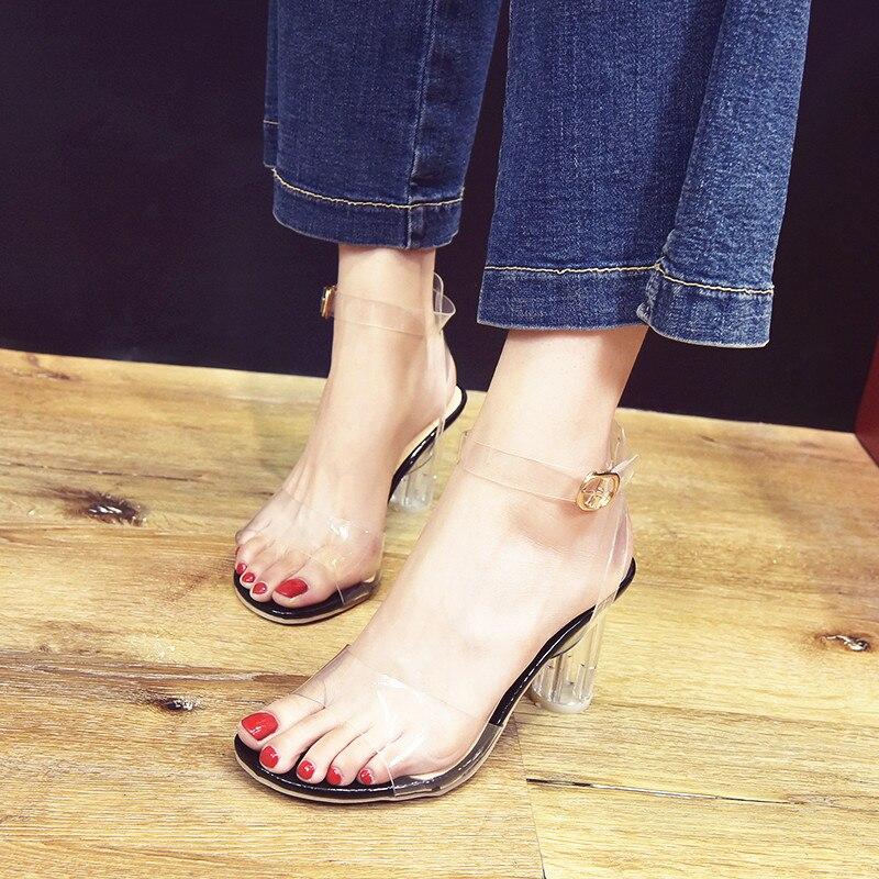 HTB11B8jiBjTBKNjSZFuq6z0HFXaJ MeiLiKeLin Clear heels Transparen Crystal Sandals Women Shoes Round Heel Womans Waterproof Beach Sandales lady high heels Summer