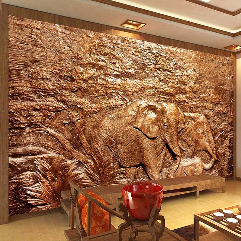 Free Shipping large mural relief carving elephants Southeast Asia Thai-style backdrop wallpapers mural