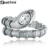 New Fashionable Mental Snake Shaped Bracelet Bangle Ornaments Quartz Movement Wrist Watch Silver