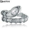 GEEKTHINK Original Da Forma de Cobra Em Forma de Relógio de Quartzo das Senhoras Das mulheres Pulseira Relógio Relógio Pulseira de Enfeites de Diamante de Luxo de Prata de Ouro