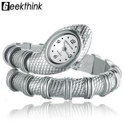Geekthink unique fashion quartz watch women ladies snake shaped bracelet watch bangle diamond ornaments luxury silver.jpg 250x250