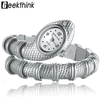 New Fashionable Mental Snake Shaped Bracelet Bangle Ornaments Quartz Movement Wrist Watch Silver