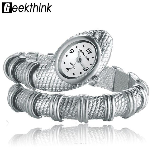 Geekthink уникальные модные кварцевые часы женские Змея Shaped Часы-браслет с бриллиантами Украшения роскошный цвет серебристый, золотой
