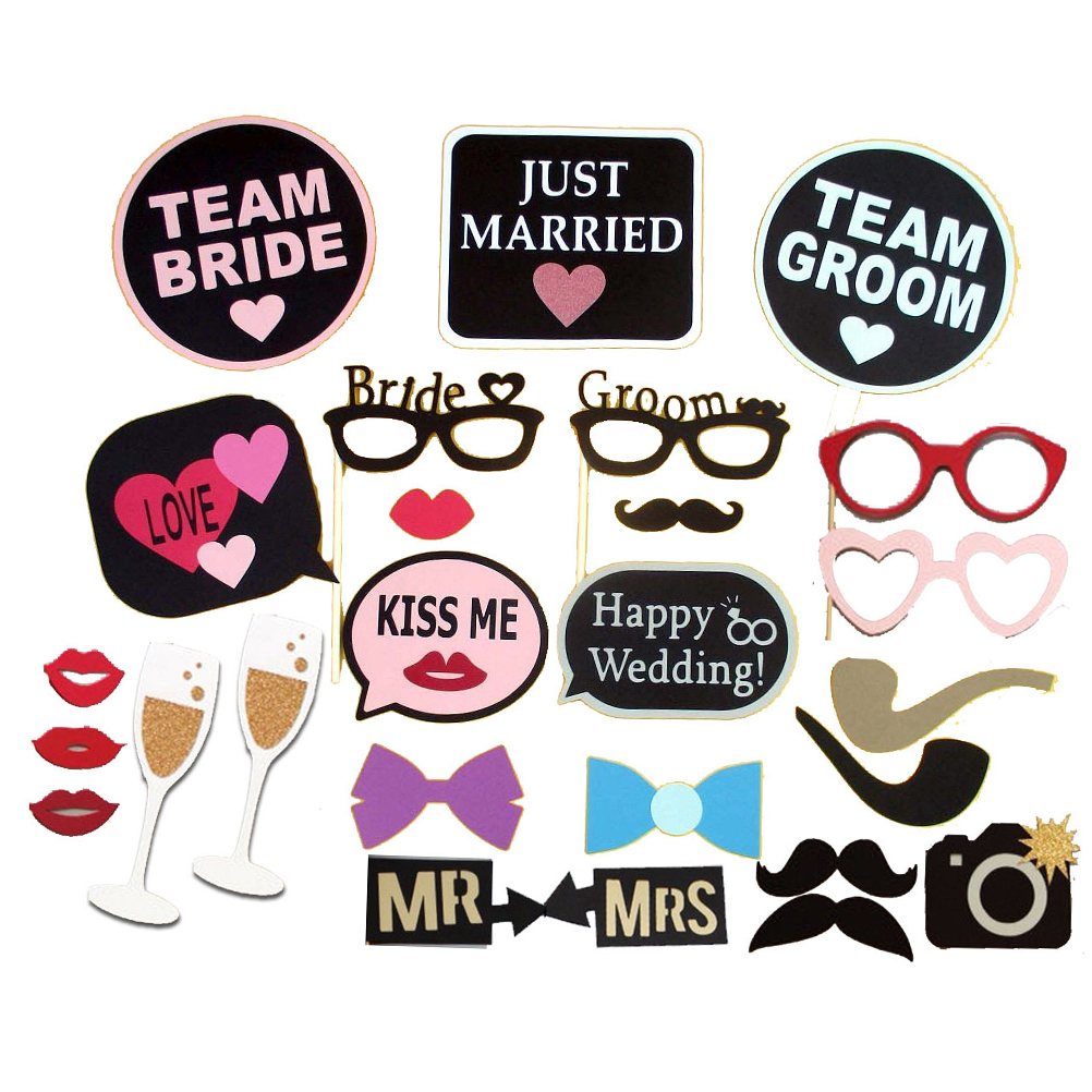 Wedding Photography Props: 26pcs/Set Wedding Party Photo Booth Props Glasses Mask