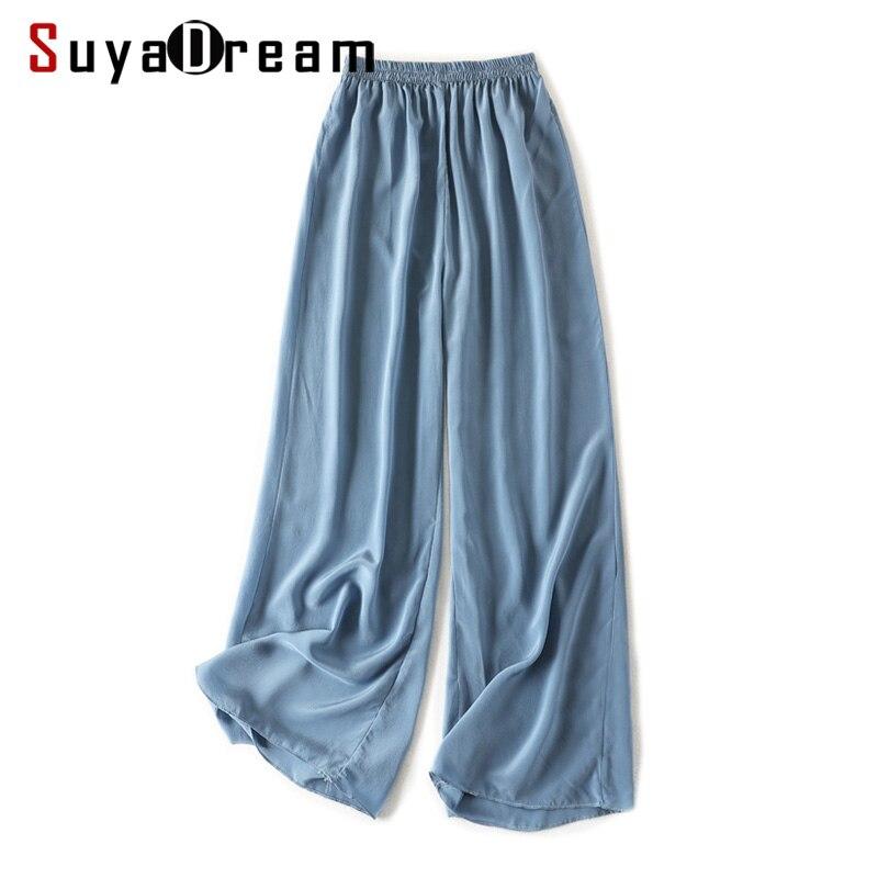 Women Wide Leg Pants 100 Real Silk Crepe Solid Elastic Waisted Long Pants 2019 Office Lady