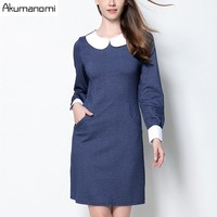 Spring Dress Patchwork Panelled Peter Pan Collar Cuff Insert Pocket Women's Clothes Autumn Dress Plus Size 5XL 4XL 3XL 2XL XL