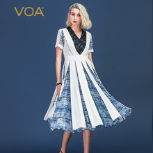 купить VOA Heavy Silk Pleated Dress Women Long Dresses Plus Size 5XL V Neck Beading Sailor Sweet Cute Print Summer Slim Mid Waist A339 по цене 23447.23 рублей