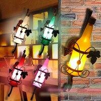 Modern And Simple European Style Garden Vintage Beer Bottle Wall Aisle Wall Bedroom Bedside Lamp