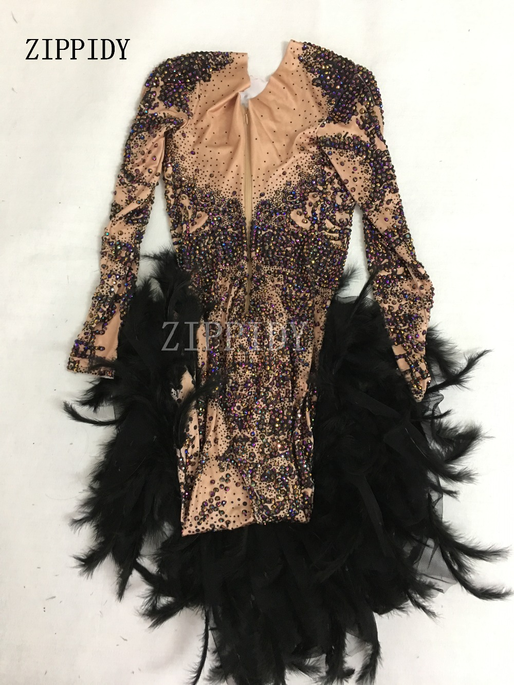 Vestido de fiesta de graduación Vestido largo de plumas negras con diamantes de imitación de colores brillantes a la moda-in Vestidos from Ropa de mujer    3